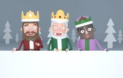 Tre magiska konungar rymma stora vita plakat i en grå skog illustration 3d vektor illustrationer