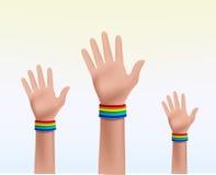 Tre mani che celebrano insieme Immagini Stock Libere da Diritti
