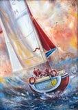 Tre marinai su una barca Fotografia Stock