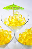 Tre martini del fegato dell'olio di merluzzo Immagine Stock