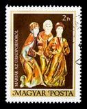 Tre Marys, cofanetto di Pasqua del serie di Garamszentbenedek, circa 198 Immagine Stock