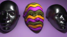 Tre maschere e colori illustrazione vettoriale