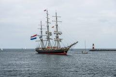 Tre-masted holländsk clipper Stad Amsterdam (staden av Amsterdam) Royaltyfri Foto