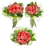Tre mazzi di fiori della rosa di rosa isolati su bianco Immagine Stock Libera da Diritti