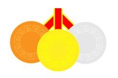 Tre medaglie Fotografie Stock