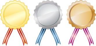 Tre medaglie Immagini Stock