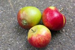 Tre mele su asfalto Fotografia Stock