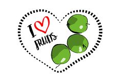 Tre mele verdi tirate del fumetto dentro cuore isolato su fondo bianco illustrazione vettoriale