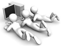 Tre mens con il PC Fotografia Stock Libera da Diritti