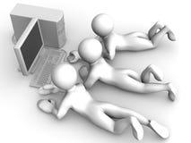Tre mens con il PC illustrazione di stock