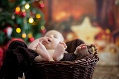 Tre mesi svegli del bambino con il cappello dell'orso in un canestro, addormentato Immagine Stock Libera da Diritti