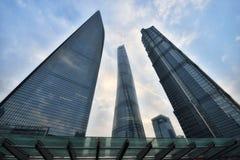 Tre mest högväxta byggnader i Shanghai Fotografering för Bildbyråer