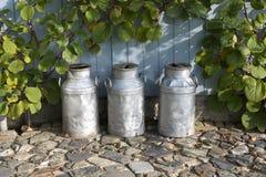 Tre mjölkkannor på en lantgård Arkivfoto