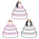 Bröllopstårtor stock illustrationer