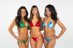 Tre modelli del bikini fotografie stock