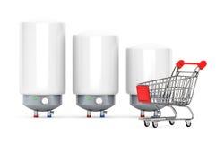 Tre moderna automatiska vattenvärmeapparater med shoppingvagnen arkivfoton