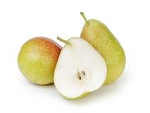 Tre mogna päron som isoleras på vit Royaltyfria Foton