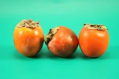 Tre mogna persimmons Royaltyfri Fotografi