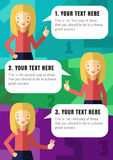 Tre moment av förverkligande din idé med den blonda flickan royaltyfri illustrationer