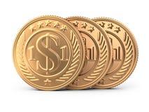 Tre monete dorate Immagine Stock Libera da Diritti