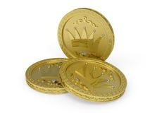 Tre monete dorate con i reticoli fioriti Fotografia Stock