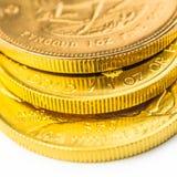 Tre monete dorate da un'oncia Fotografie Stock Libere da Diritti