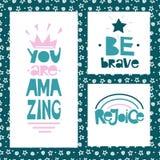Tre motivational citationstecken är modiga Du är fantastisk jubla stock illustrationer