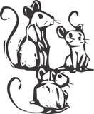 Tre mouse Fotografia Stock Libera da Diritti