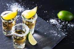 Tre mucchi della tequila messicana con calce e sale fotografia stock libera da diritti