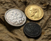 Tre mynt Royaltyfri Bild