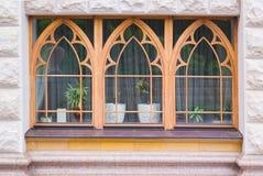 Tre nuove finestre della sostituzione con disposizione verde sulla parte anteriore della casa orizzontale immagine stock libera da diritti