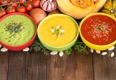 Tre nya soppor och grönsaker Arkivbild