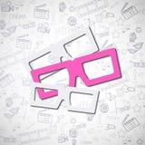 Tre occhiali uno di loro rosa Fotografia Stock Libera da Diritti