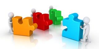Tre offerti per unire puzzle Fotografia Stock