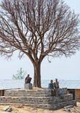 Tre oidentifierade nepalesiska gamala män tar en eftermiddag vilar under stort gammalt naket träd Arkivbild
