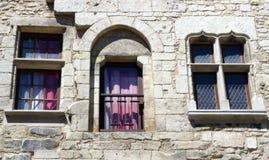 Tre olika antika fönster på samma gammal fasad royaltyfri foto