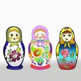 Tre olika färgglade ryska dockor vektor illustrationer