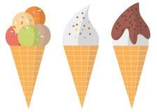 Tre olika färgrika smakliga dillandeglasskottar och mjuk isillus Arkivfoton