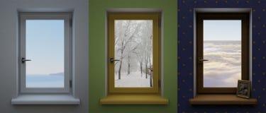 Tre olika fönster Arkivbild
