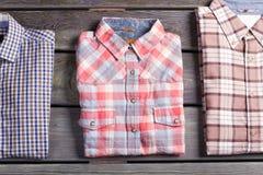 Tre olika kontrollerade skjortor Royaltyfria Foton