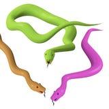 Tre olika ormar royaltyfri illustrationer