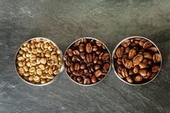 Tre olika sorter av kaffe Royaltyfria Bilder