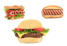 Tre olika sorter av snabb foodood Arkivfoto