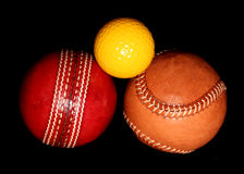 Tre olika sportbollar Royaltyfria Foton