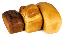 Tre olika typer av bröd royaltyfria foton
