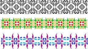 Tre olika typer av prydnaden, svartvit, gräsplanguling och violeten slösar Blommiga modeller i vektor Fotografering för Bildbyråer
