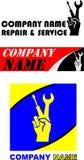 Tre opzioni di logo per la società meccanica dell'officina Fotografia Stock Libera da Diritti