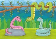 Tre ormar i natur vektor illustrationer