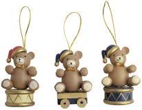 Tre ornamenti dell'orso di natale Fotografie Stock