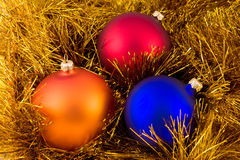 Tre ornamenti di natale Fotografie Stock Libere da Diritti